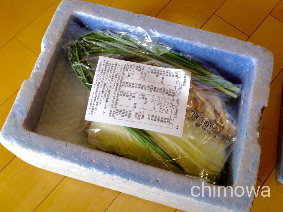 夕食宅配ヨシケイで届いた発泡スチロールを開けたところの写真(画像)産地表示の紙付き