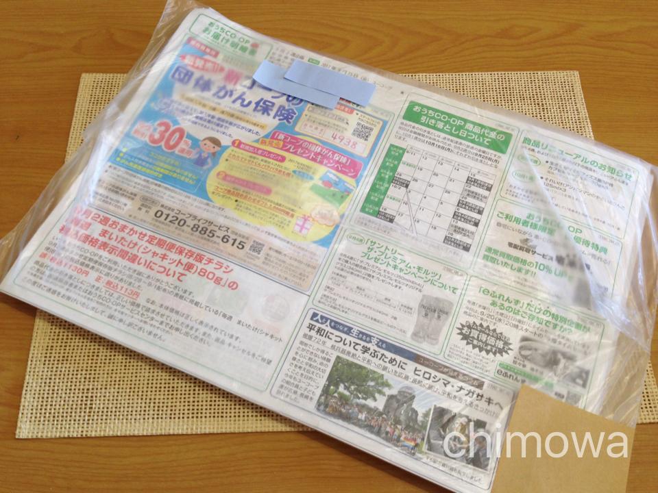 おうちコープ袋に入って届いたカタログの画像(写真)