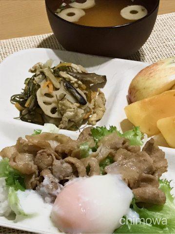ヨシケイクイックダイニングコース「焼き肉丼と炒り煮、お味噌汁」盛り付け後の写真