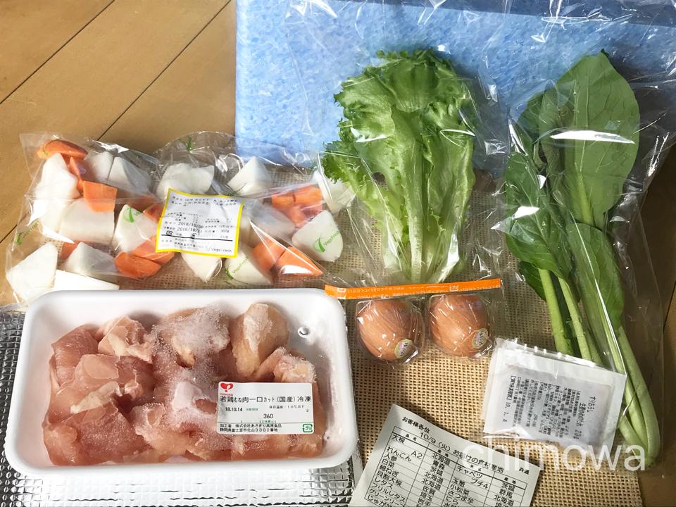 ミールキットで届いた食材と産地のお知らせや次号注文の手紙の写真
